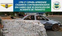 Carro capota e motorista foge, abandonando 1.200 pacotes de cigarro contrabandea