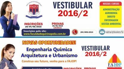 FAQUI e FAJOP anunciam vestibulares em Quirin�polis